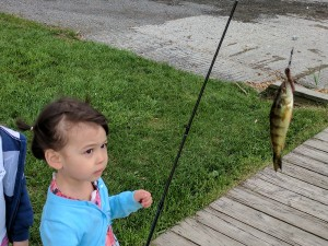 A young girl holding up her fishing rod with a perch on the line
