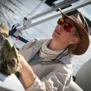 Kyla on the boat
